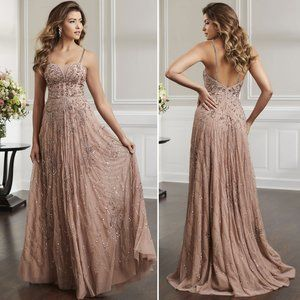 Christina Wu Elegance 17922 Rose Gold Evening Gown